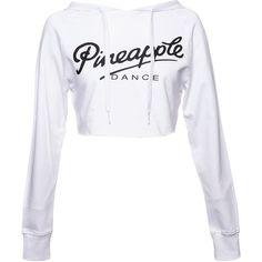 Pineapple Crop Dance Hoodie (White) ($30) ❤ liked on Polyvore featuring tops, hoodies, shirts, hooded pullover, white hoodie, cropped hoodies, crop top ve white hooded sweatshirt
