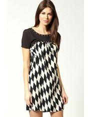 Holly Harlequin Print Pearl Trim Shift Dress by Boohoo