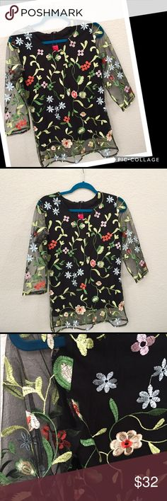 Beautiful Floral Top Beautiful Floral Print Top. Top is black sheer w/floral print & lining. Has sheer floral print sleeves. Comes to beginning of hips. Pretty n person. Cosb Tops