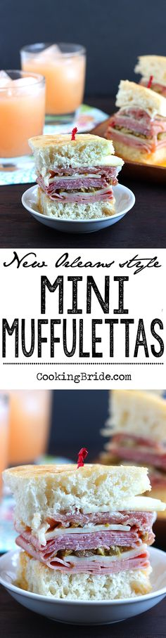 Bite-sized mini muffulettas loaded with sliced meat, cheese, and salty olive sandwich on soft bread are a taste of New Orleans.