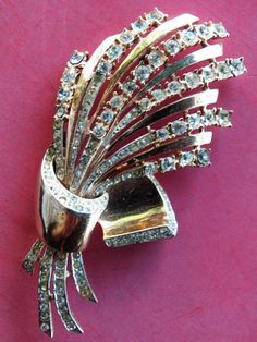 """LARGE Sterling SILVER CORO CRAFT PIN BROOCH 1940's Vermeil 1.5 ounces 3 3/4"""""""