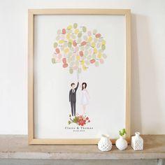 bespoke bride and groom portrait guestbook by pepper & joy | notonthehighstreet.com