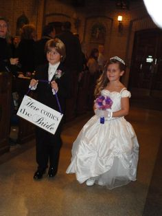 """""""Here comes the Bride"""" sign for the ring bearer to hold"""