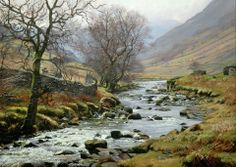 """The Langstrath Valley"" [Sold] By Peter Barker, from Banbury, Oxfordrshire, England (current location, South Luffenham, England) - oil on canvas; 18 x 26 in - http://www.peterbarkerpaintings.co.uk/"