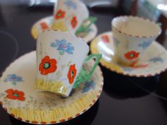 """VINTAGE DECO 30s """"ZENITH"""" POPPY DESIGN COFFEE CUPS/SAUCER X 3 