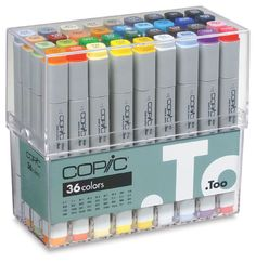 Copic illustration markers.  Expensive, sometimes bleed through your paper.   This is the original style.