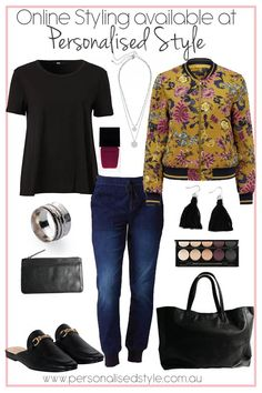 Mustard floral bomber jacket with denim joggers outfit! Dress it up with accessories and you're set to go! Online Styling available at www.personalisedstyle.com.au
