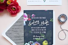 Oh So Beautiful Paper: Lindsey + Blake's Floral Noir Wedding Invitations