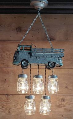 Mini Market Truck-like VW Bus-Galvanized Metal Handcrafted | Etsy Mason Jar Pendant Light, Mason Jar Light Fixture, Mason Jar Lighting, Pendant Light Fixtures, Kitchen Lighting Over Table, Farmhouse Kitchen Lighting, Ball Mason Jars, Mason Jar Lamp, Jar Chandelier