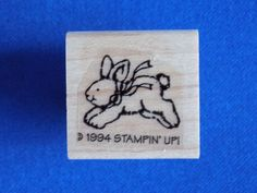 Jumping Bunny Wood Mounted Rubber Stamp Gently Used 1994 Stampin' Up! Stampin Up #StampinUp #Background