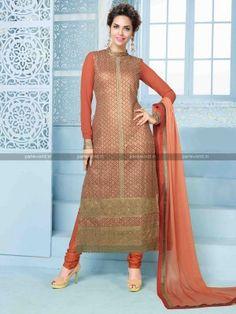 Peach Georgette Elegant Party wear Salwar Kameez  party wear collection for Eid   parisworld.in