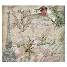 original art card print, humming bird, pink postcard roses, watering can