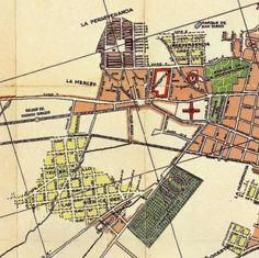 Plano de lo que hoy es el Centro Internacional de Bogotá en 1932. Se destaca el Parque de la Independencia, el Cementerio Central, el nuevo barrio de Teusaquillo, la zona de desarrollo de La Merced, el barrio de La Perseverancia, entre otros.
