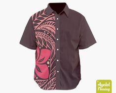 Hawaiian shirt men - Polynesian shirt - Half pink aubergine button up shirt men Tribal Shirt, Mens Hawaiian Shirts, Bowling Shirts, Aloha Shirt, Button Up Shirts, Men Casual, Shirt Dress, Trending Outfits, Mens Tops