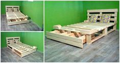 This DIY pallet platform bed is beyond your imaginations in terms of creativity and gives a totally changed rule to recover a bed out of pallets! Pallet Platform Bed, Platform Bed Frame, Double Bed With Storage, Platform Bed With Drawers, College Bedding, Pallet Beds, Pallet Wood, Cheap Bedding Sets, Recycled Furniture