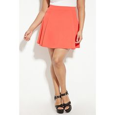 Forever 21 Plus Women's  Plus Size Skater Skirt ($15) ❤ liked on Polyvore featuring skirts, forever 21, forever 21 skirts, red skirt, plus size red skirt and red skater skirt