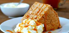 Slow Cooker Pumpkin Angel Food Cake with Caramel Sauce