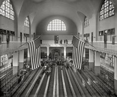 "New York circa 1911. ""Inspection room, Ellis Island."" 8x10 inch dry plate glass negative, Detroit Publishing Company."