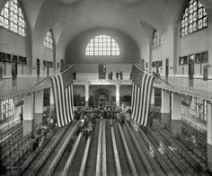 "New York circa 1911. ""Inspection room, Ellis Island."" 8x10 inch dry plate glass negative, Detroit Publishing Company."
