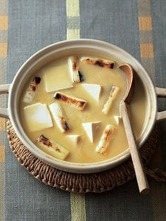 Japanese hot pot with white miso, tofu and Japanese leeks