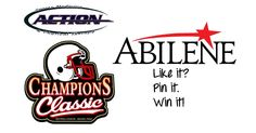 5.Action Sports Medicine Champions Classic Bundle:  What's more Abilene than football in TX on Fri nights? Abilene has all things football covered with the Action Sports Medicine Champions Classic from the ACVB Sports Alliance. You'll have full access to the VIP tent during all the games and the opportunity to all games like the AHigh Eagles in 5A ball or ACU in D-5 college ball. In addition, you'll get a generous sports goody basket! Isn't Abilene very, very Pinterest-ing?  Re-pin to win!