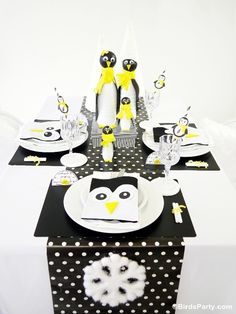 Kids' Holiday Table - A Black, White and Yellow Penguin Inspired Kids Table with FREE party printables by Bird's Party