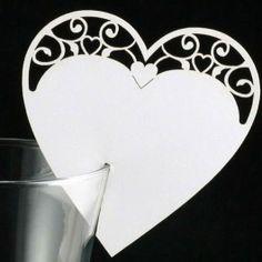 Bordkort hvid hjerte, 10 stk.