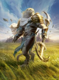 MtG Ajani Valiant Protector Illustration done for Magic: the Gathering - Aether Revolt © Wizards of the Coast Anna Steinbauer
