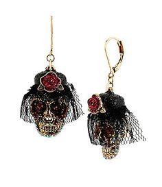 Betsey Johnson Day of the Dead Drop Earrings #Dillards