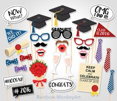 Printable Graduation Photo Booth Props por RainbowMonkeyArt Fotos  Graduacion fec74c4e22c