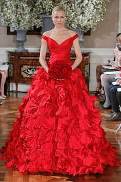 Romona Keveza Couture red #wedding dress, Spring 2013.