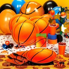 basketball party: orange balloons and draw on black stripes.