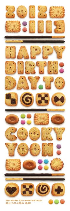 Typography :: Cookies - Happy Birthday to Cooky Yoon by Cooky Yoon, via Behance Food Typography, Typography Served, Typography Design, Lettering, Happy Birthday Cookie, Birthday Cookies, Food Design, Creative Design, Food Illustrations