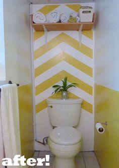 chevron stripes accent wall in half bath Chevron Bathroom, Bathroom Kids, Budget Bathroom, Small Bathroom, Bathroom Rules, Striped Accent Walls, Tropical Bathroom, Accent Walls In Living Room, Yellow Bathrooms