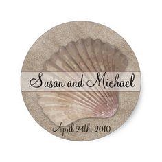 Customizable Sea Shell Wedding Stickers