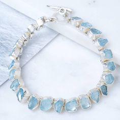 Rough Aquamarine Silver Bracelet