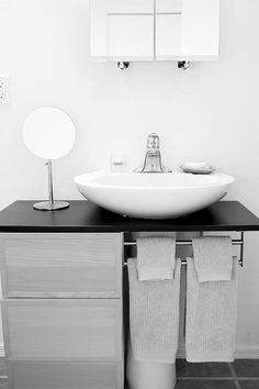 how to hack a bowl sink – IKEA Hackers This is a pretty simple DIY project that's practical for small spaces. Would be great for a rental where you don't have the option of switching out a pedestal sink – via IKEA Hacks Bathroom Sink Bowls, Bathroom Sink Storage, Bathroom Storage Solutions, Bathroom Hacks, Bowl Sink, Ikea Bathroom, Bathroom Small, Ikea Sinks, Family Bathroom