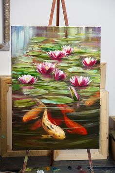 Best Ideas For Art Painting Acrylic Animals Acrylic Art, Acrylic Painting Canvas, Canvas Art, Koi Art, Fish Art, Lotus Painting, Painting & Drawing, Arte Floral, Painting Inspiration
