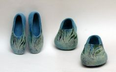 Hand Felted Slippers for Women Seagrass Navy Blue by jurgaZa, $68.00