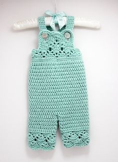 Crochet Baby Girl Overalls in Robins Egg Blue by LoopsInBloom