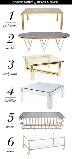 6 Brass & Glass Coffee Tables