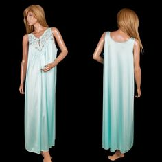 #GlossySatin #GlossyNightgown #OpenBustNightgown Lace Sweep Soft Nylon #VintageLingerie Aqua #VintageNightgown #FullLengthNightgown #SomeLikeItUsed