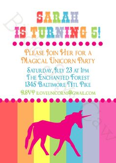 Unicorn Birthday Party Custom Printable Invitation by slindb, $10.00