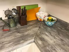 AmazonSmile - Wood Panel Contact Paper Film Vinyl Self Adhesive Peel-stick Removable (Grey Brown VL7710) - Jessica's countertops in grey shade, as alternative to Ekaterina's in brown shade.