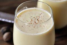 Homemade Eggnog Recipe Beverages with large egg yolks, granulated sugar, heavy cream, milk, grated nutmeg, salt, vanilla extract, rum extract