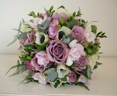 Vintage wedding bouquet of dusky pink roses,freesias,anemones and mixed foliages by Fiori By Lynne Modern Wedding Flowers, Winter Wedding Flowers, Purple Wedding Flowers, Bridal Flowers, Flower Bouquet Wedding, Flower Bouquets, Bridal Bouquets, Lilac Bouquet, Anemone Flower