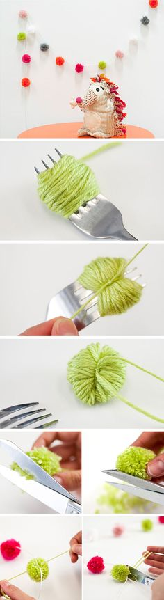 Pom Pom Garland | Click for 25 DIY Nursery Decor Ideas | Never thought of using a fork for Pom poms!