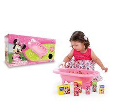 1852.1 - Banheira Minnie Mouse Bow-tique Disney | Dar banho nas bonecas ficou mais divertido. A Banheira Minnie Bow-tique vem com acessórios cartonados e lindo adesivo decorativo. Possui registro e torneira que ao ser acionado emite som de água corrente tornando a brincadeira mais próxima da realidade. | Faixa etária: +3 anos | Medidas: 50,5 x 18 x 25,5 cm | Jogos e Brinquedos | Xalingo Brinquedos | Crianças