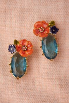 bejeweled earrings with flowers are my new life love