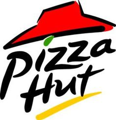 Pizza Hut Logo. The font is very casual and playful which plays into the brand. All the text moves in a diagonally rightward direction possibly symbolizing a cool and uplifting experience.